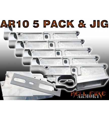 5 x AR-10 80% Lower Receivers with Jig Set Package