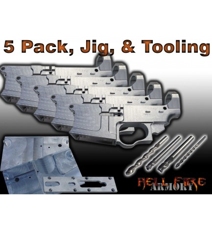5 x AR-15 80% Lower Receivers, Jig Set and Tooling
