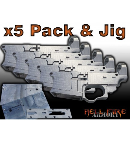 5 x AR-15 80% Lower Receivers with Jig Set Package